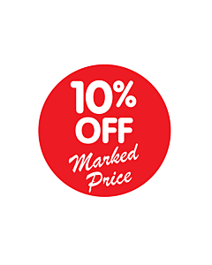 10% Off Marked Price Stickers