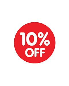 Red 10% Off Stickers