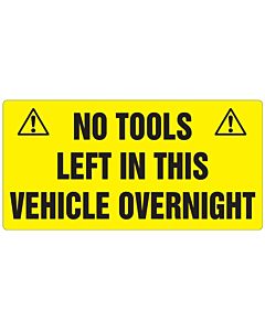 No Tools Left in Vehicle Stickers 150x75mm