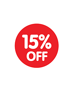 Red 15% Off Stickers
