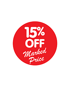 15% Off Marked Price Stickers