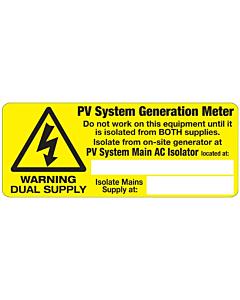 Solar PV Dual Supply Labels 100x40mm
