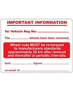 Wheel Nut Re-Torque Labels 100x75mm
