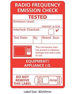 Microwave Emission Test Labels 50x80mm