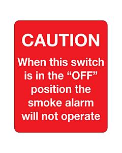 Caution Smoke Alarm Switch Labels 50x60mm