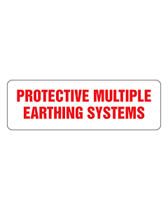 Protective Multiple Earthing Systems Labels 80x26mm