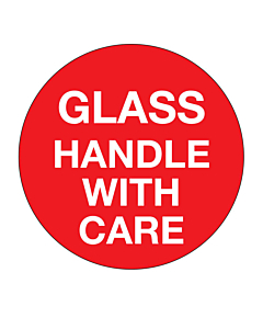 Glass Handle With Care Labels 50mm