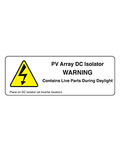 PV Array DC Isolator Labels 94x33mm