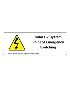 Point of Emergency Switching PV Labels 94x33mm