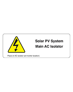 Main AC Isolator PV Labels 94x33mm