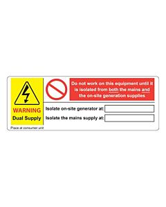 PV Dual Supply Consumer Unit Labels 132x47mm