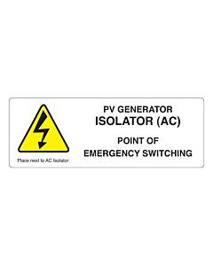 PV Generator Isolator Labels 132x47mm