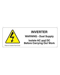 PV Inverter Dual Supply Warning Labels 132x47mm