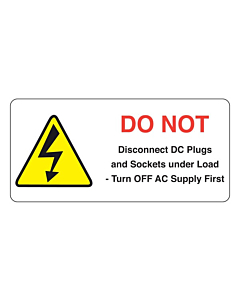 Do Not Disconnect Under Load PV Labels 75x35mm