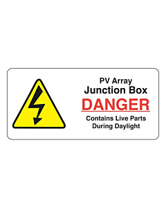 PV Array Junction Box Labels 75x35mm