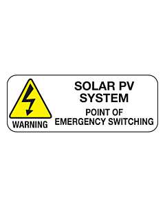 Point of Emergency Switching PV System Labels 40x15mm