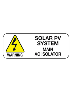 Main AC Isolator PV System Labels 40x15mm