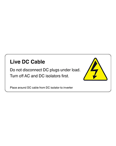 Live DC Cable Isolator to Inverter Labels 94x33mm