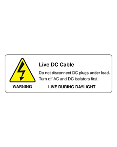 Live DC Cable PV Warning Labels 94x33mm