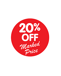 20% Off Marked Price Stickers