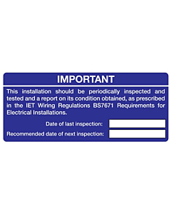 Electrical Periodic Inspection Labels 120x50mm