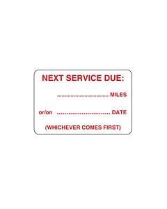 Next Service Due Labels 38x25mm