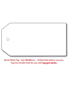 Blank White Swing Tags 70x35mm (2.5mm Hole)