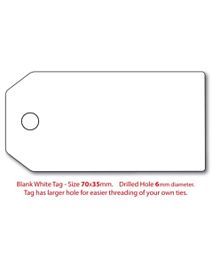 Blank White Swing Tags 70x35mm (6mm Hole)