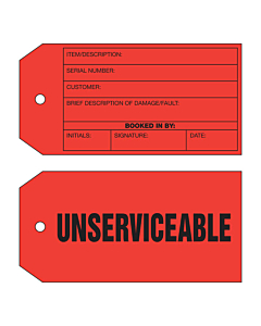2 Sided Unserviceable Tag (134x67mm)