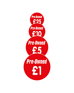 Pre-Owned Price Labels 30mm