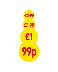 Yellow 30mm Price Labels
