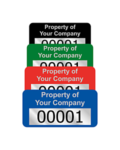 Budget Silver Polyester Asset Labels Number 30x15mm