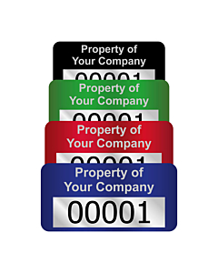 Silver Void Asset Labels Number 30x15mm