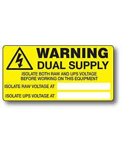Dual Supply Labels 100x50mm