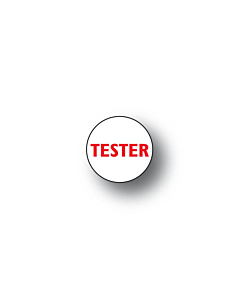 Tester Stickers Red on Clear 15mm