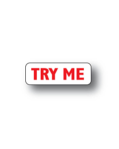 Try Me Stickers Red on White 30x10mm