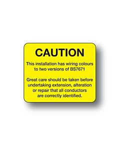 BS7671 Wiring Colours Harmonisation Labels 40x33mm