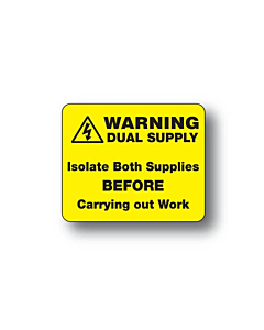 Warning Dual Supply Labels 40x33mm