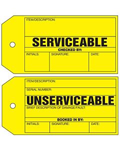 Serviceable / Unserviceable Repair Tag 134x67mm