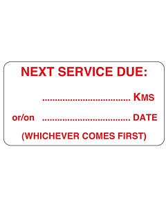 Next Service Due Stickers 63x33mm