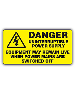 Danger Uninterruptible Power Supply Labels 100x50mm