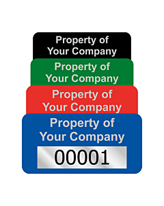 Budget Silver Polyester Asset Labels Number 40x20mm