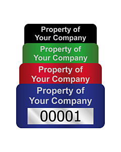 Silver Void Asset Labels Number 40x20mm