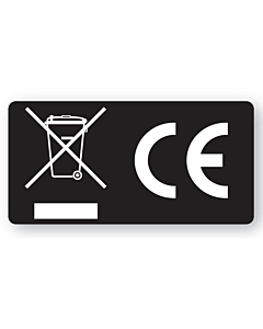 Black WEEE & CE Labels 50x25mm
