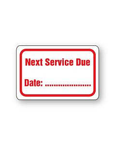 Next Service Due Stickers 38x25mm