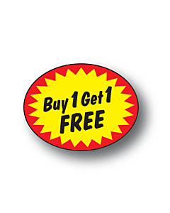 Buy 1 Get 1 Free Stickers 37x28mm Permanent