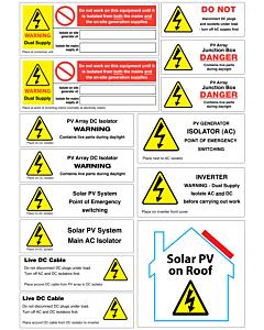 Solar PV Installation Labels