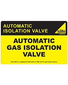 Automatic Gas Isolation Valve Labels 100x65mm