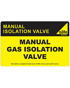 Manual Gas Isolation Valve Labels 100x65mm