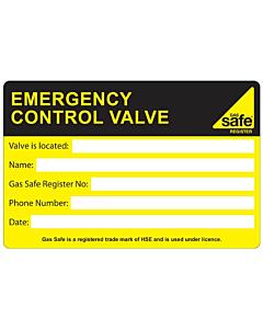 Emergency Control Valve Labels 100x65mm